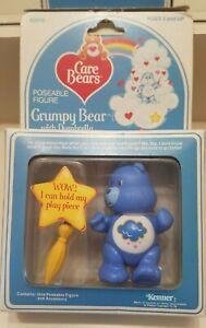 Vintage Care Bear Poseable Figure, Grumpy Bear & Dumbrella  Mip, 1984, Kenner
