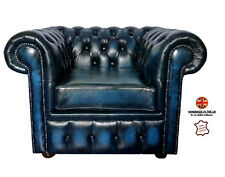 Chesterfield Genuine Leather Club Armchair Antique Blue Buttoned UK Handmade