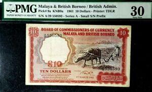 PMG 30 VF 1961 MALAYA & BRITISH BORNEO 10 Dollars B/Note(+FREE1 B/note)#17109
