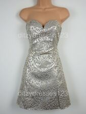 BNWT Definitions Gold Jacquard Prom Party Cocktail Dress Size 16 RRP £69