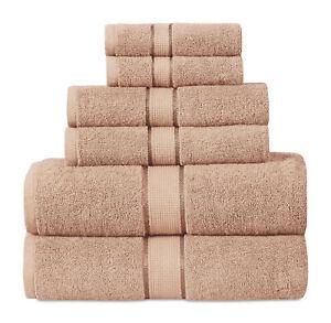 6-Piece 100% Cotton 600 GSM Absorbent Bathroom Hand Washcloths Towel Set- BEIGE