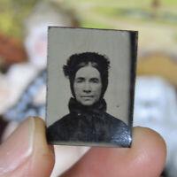 Antique Miniature VICTORIAN TIN TYPE PHOTO Portrait Dollhouse Gem Tintype Lady