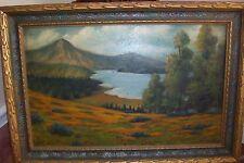 Antique ORIGINAL OIL ART PASTEL PAINTING~E.Platt~RARE MOUNTAIN SCENE Frame&Craft