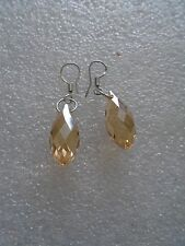 Handmade Amber Crystal silver plated 'teardrop' drop earrings  - Approx 14mm