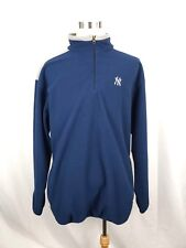 MAJESTIC Mens Size XL Blue Gray New York Yankees 1/4 Zip Fleece Sweatshirt Logo