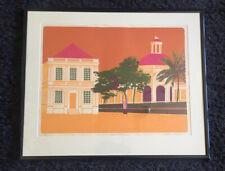 """GEOFFREY ELLIOTT b1935 Limited Edition LINOCUT """"Spanish Town"""" ed 41/45"""