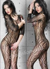 Sexy swirl pattern lingerie fishnet crotchless bodystocking bodysuit nightwear
