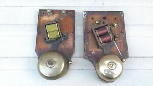 Pair of  WOODEN CASED ELECTRIC BELLS, in good working order but missing covers