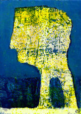 life is an uphill treadmill, you fall down, you die e9Art ACEO Outsider Art Brut