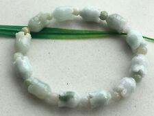 9x12mm Certified Natural Jadeite carved flower Beautiful flowers Bracelet 0656