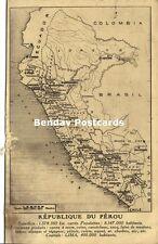 Peru Pérou, MAP Postcard (1946)