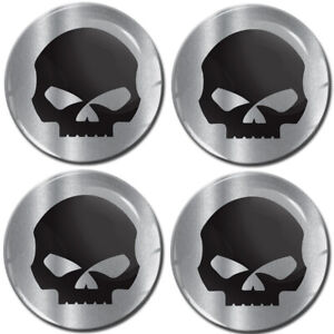 4 x 70mm 3D Gel Car Wheel Centre Hub Center Rim Stickers For Caps Silver Skull