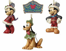 Disney Traditions Sugar Coated Mickey, Minnie & Pluto Christmas Tree Decorations