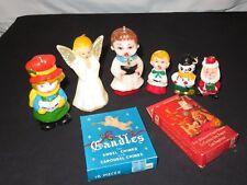 Vintage Christmas Candle Lot Figural Figure Gurley Angel Caroler Santa (P822