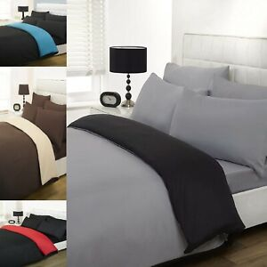 Plain Dyed Duvet Cover Quilt Bedding Set Pillowcase Single Double King Reversal