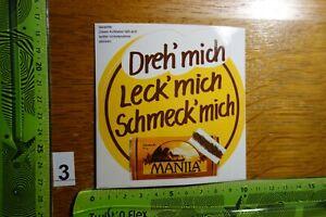 Alter Aufkleber Tabak Zigaretten MANILA Spruch Dreh' mich Leck' mich Schmeck' (A