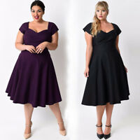 Fashion Women Plus Size Solid Swing Dress Casual Short Sleeve Formal Cocktail