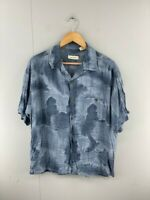 Linea Dome Mens Grey Vintage Collared Short Sleeve Pocket Button Up Shirt Size M