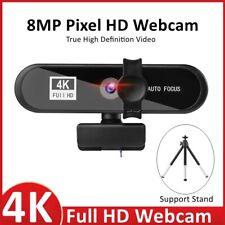 4K Full HD USB Webcam for PC Desktop Laptop Web Camera with Microphone Autofokus