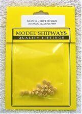 "Model Shipways Fittings MS 2312 Boxwood Deadeyes 5/32"" (4MM). 20 Per Pack. NEW."