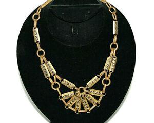 """Vintage Brass Necklace Imprinted Flower Floral Designs 18"""""""