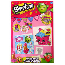 Shopkins - Childrens Make Your Own Cards -Cut outs, Pencils, Gemstones, Stickers