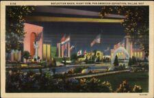 Dallas TX 1937 Pan American Expo Reflection Basin Linen Postcard