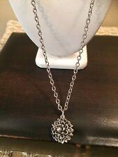 Vintage Silver Tone Silver Flower Silver Bead Reversible Pendant Necklace