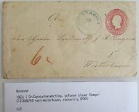 HANNOVER Ein Groschen Ganzsachen Brief Stempel STICKHAUSEN n/ Westerhusen Emden