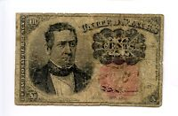 Fifth 5th Issue 10C 10 Ten Cent Fractional Currency Hole tears Red 1874 AA0933