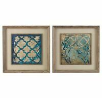 Stained Glass Indigo - 31.13 inch Framed Art (Set of 2) - 31.13 inches wide by