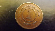 STRAITS SETTLEMENT  CENT 1891  VF  OR BETTER RARE