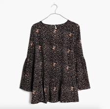 Madewell Silk Fiesta Paisley Bell-Sleeve Blouse Womens Size XXS Style G1463