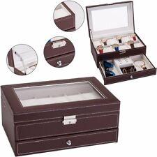 12 Slots Mens Watch Box Watch Storage Organizer Jewelry Display Case Lockable