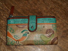 FOSSIL KELLY BIRDS AND PRINT LEATHER BIFOLD TAB WALLET TEAL-MULTI
