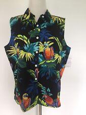 Womens Vintage Puanani Sleeveless Hawaiian Button Down Shirt Size Xl Nos