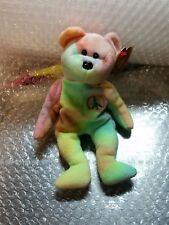 TY Beanie Babies tye dye Peace Bear Retired w/ Rare ERRORS & tag + Diana n More