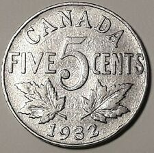 1932 CANADA  5 Cent Nickel Coin KING GEORGE V