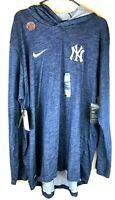 New York Yankees Nike Split Logo Performance Long Sleeve Hoodie Top - Navy XL