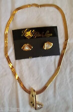 NEW Park Lane Contemporary Gold Plated/Gemstone Necklace & Post Earrings Set