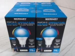 NEW Set of 4 Merkury Innovations MIC-BW904-999W Smart Wi-Fi LED Bulbs $60