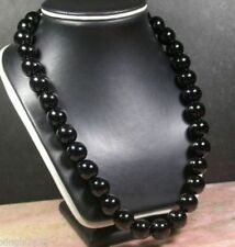 Genuine 12MM Natural BLACK ONYX KNOTTED Beaded NECKLACE 18''