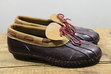 Vintage Womens Duck Boots Winter Shoes Burgundy Leather USA size 8 80s Slip On