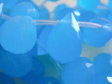 "9x12mm Faceted Briolette Teardrop Shape Blue Quartz 7""-8"" INCH Stones Beads ("