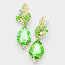 """WHIMSICALGold Vibrant Peridot Crystal BIG 3"""" Cocktail Earrings By Rocks Boutique"""