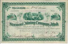 UTAH 1883 Stormont Mining Co of Utah Stock Certificate Schyuler Van Rensselaer