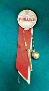 Phillies 1940's Baseball Stadium Button Crossed Bats Ribbon Bat & Ball