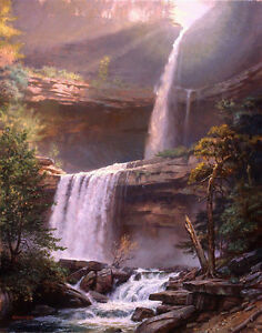 Modern Prints oil painting on Canvas Valleys, waterfalls, tree pictures Wall art