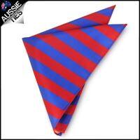 Mens Red & Blue Striped Pocket Square Handkerchief hanky