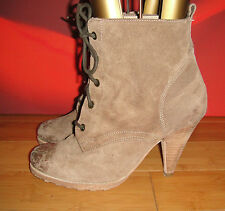 NEXT URBAN VINTAGE BROWN SUEDE VICTORIAN STYLE ANKLE   BOOTS  UK 7 EU 41 *48*